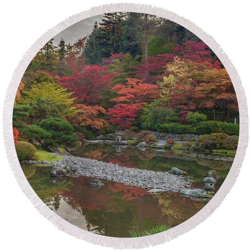 Autumn Round Beach Towel featuring the photograph Soaring Fall Colors In The Arboretum by Mike Reid