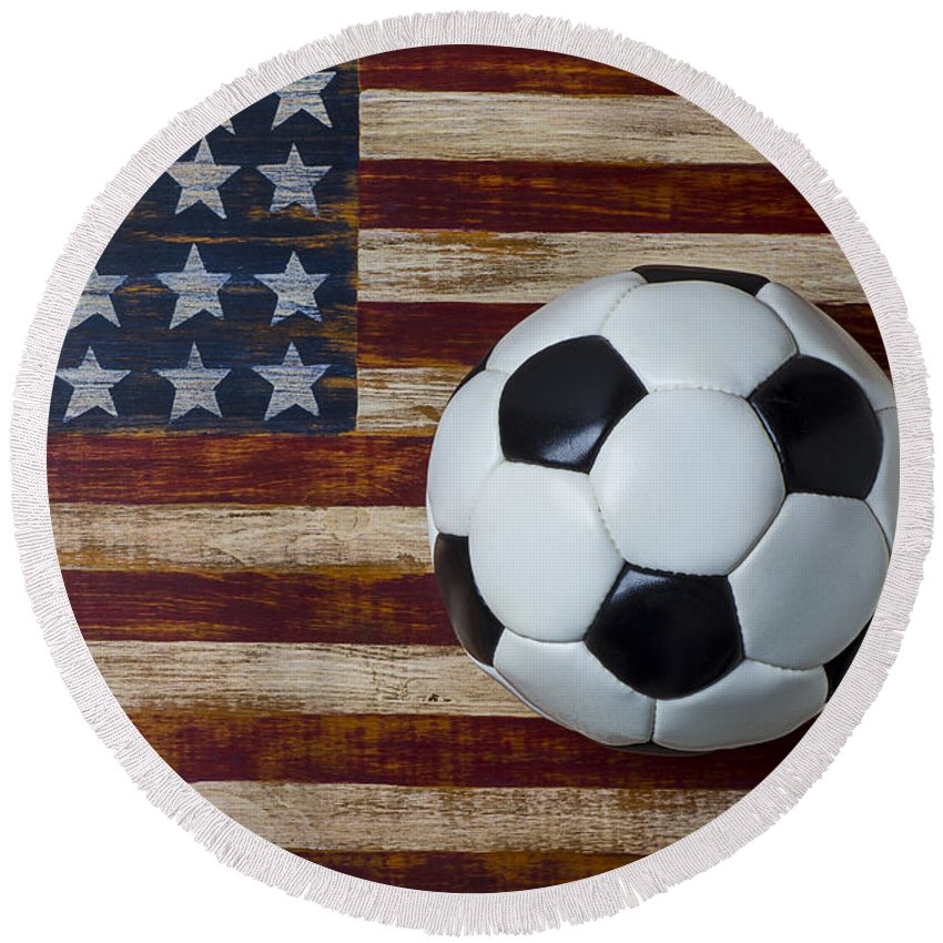 Soccer Round Beach Towel featuring the photograph Soccer ball and stars and stripes by Garry Gay