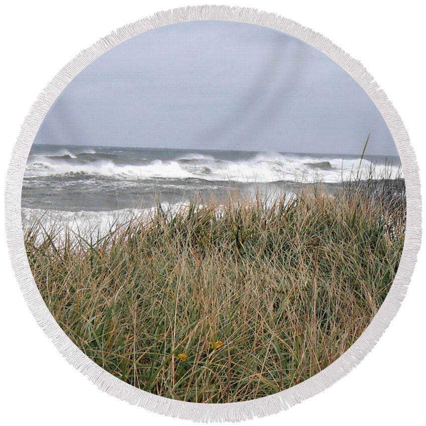 Sandy Round Beach Towel featuring the photograph Socked By Sandy II by Kimberly Perry