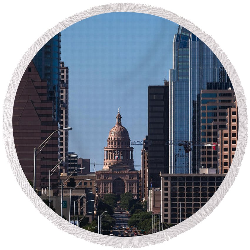 Architecture Round Beach Towel featuring the photograph So Co View Of The Texas Capitol by Ed Gleichman