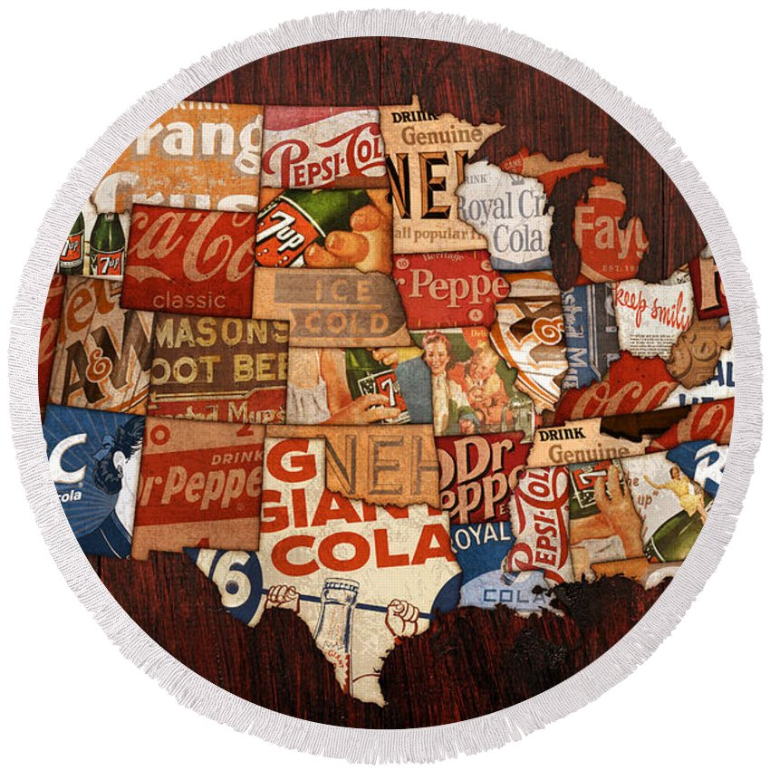 Soda Pop America Wrapper Vintage Pepsi Coke Coca Cola 7up Mountain Dew Root Beer Orange Crush Nehi Dr Pepper Drink Beverage Thirsty Usa Map Country Rc Bottle Can Box History Faygo Drink Ice Cold Carbonated Round Beach Towel featuring the mixed media Soda Pop America by Design Turnpike