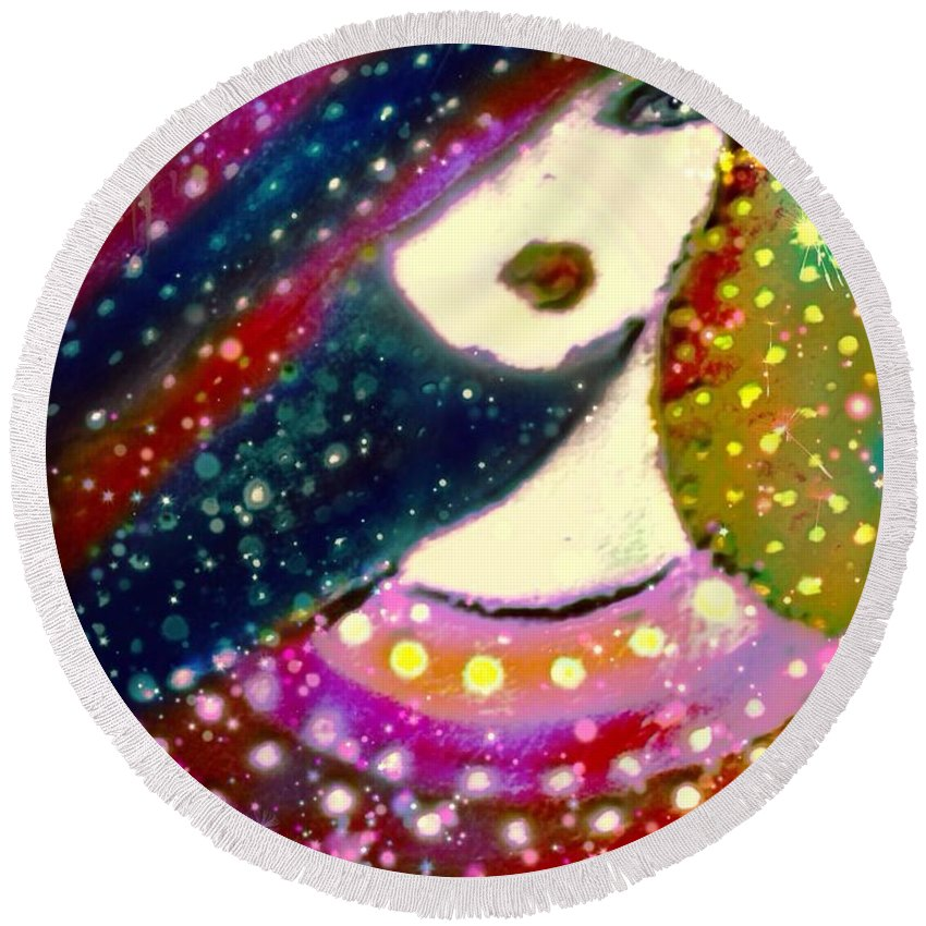 Soeur Margerite Round Beach Towel featuring the digital art Soeur Margerite by Pikotine Art