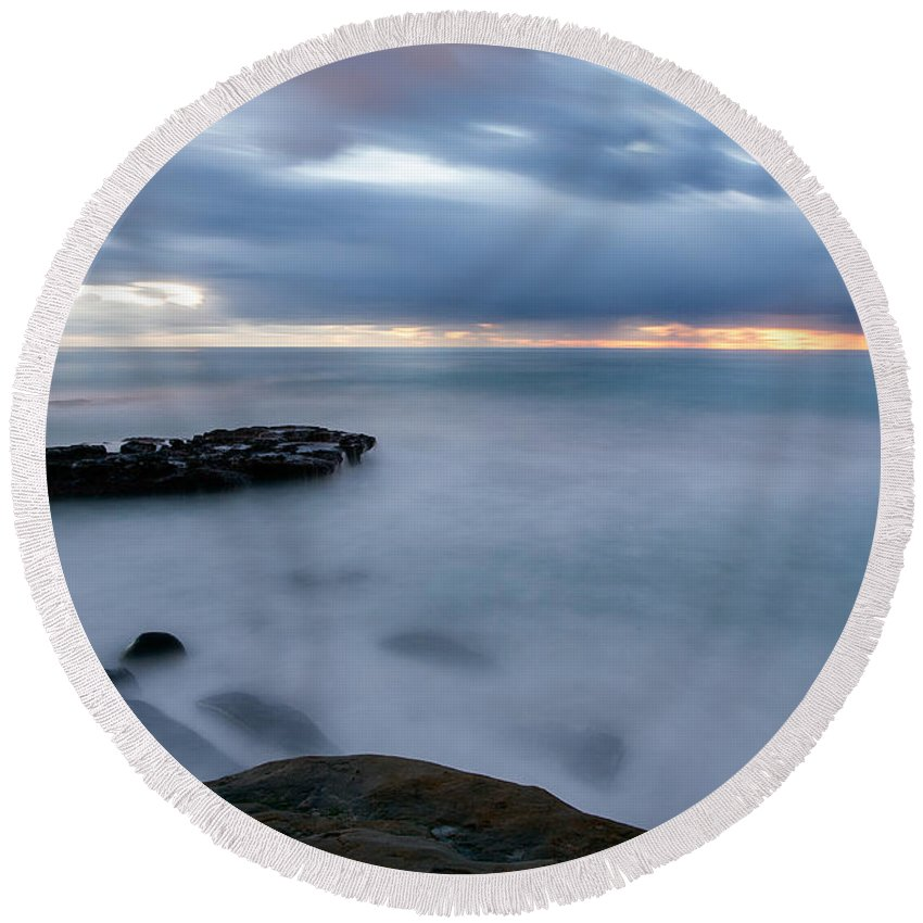 Beach Round Beach Towel featuring the photograph Soft And Blue by Peter Tellone
