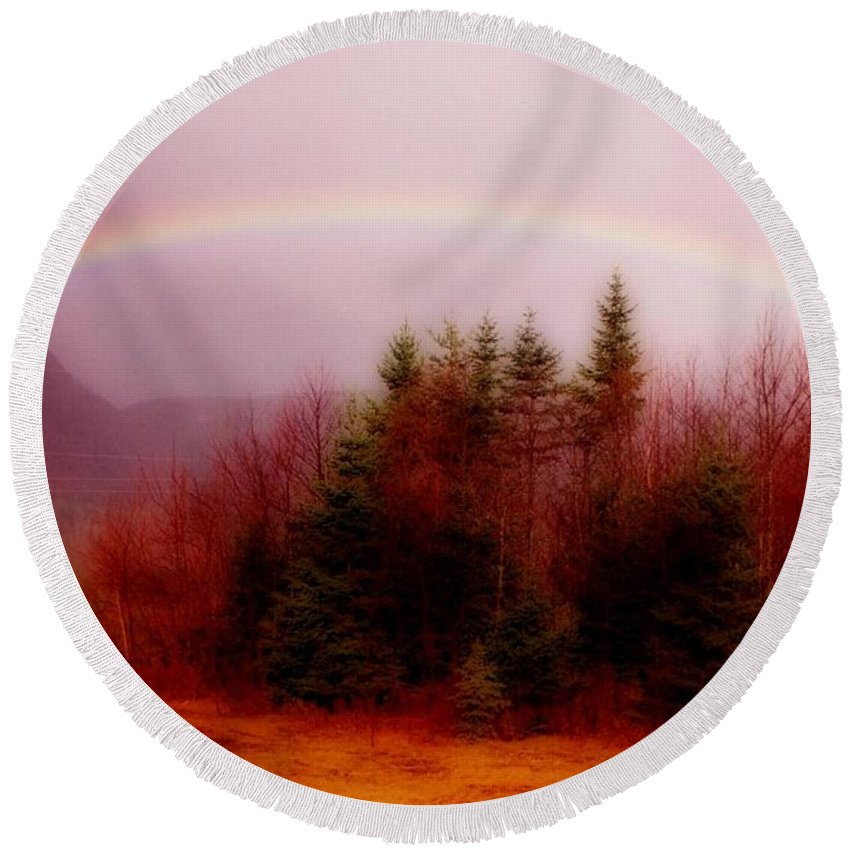 Rainbows Round Beach Towel featuring the painting Soft Cape Breton Rainbow by John Malone