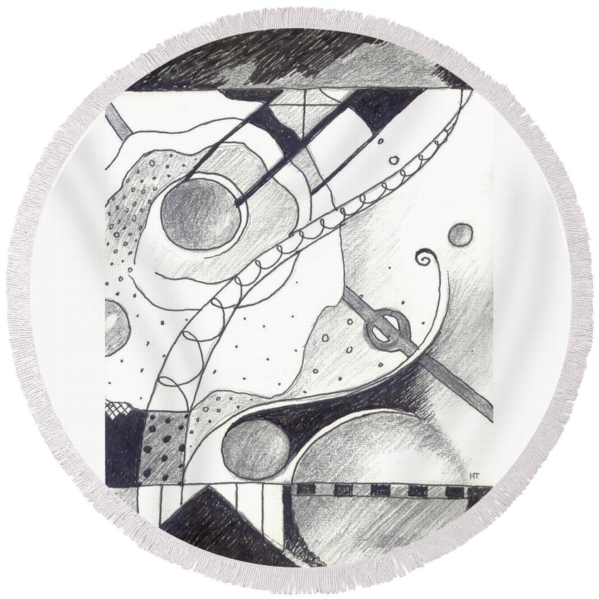 Abstract Round Beach Towel featuring the drawing Soft Landings 1 by Helena Tiainen