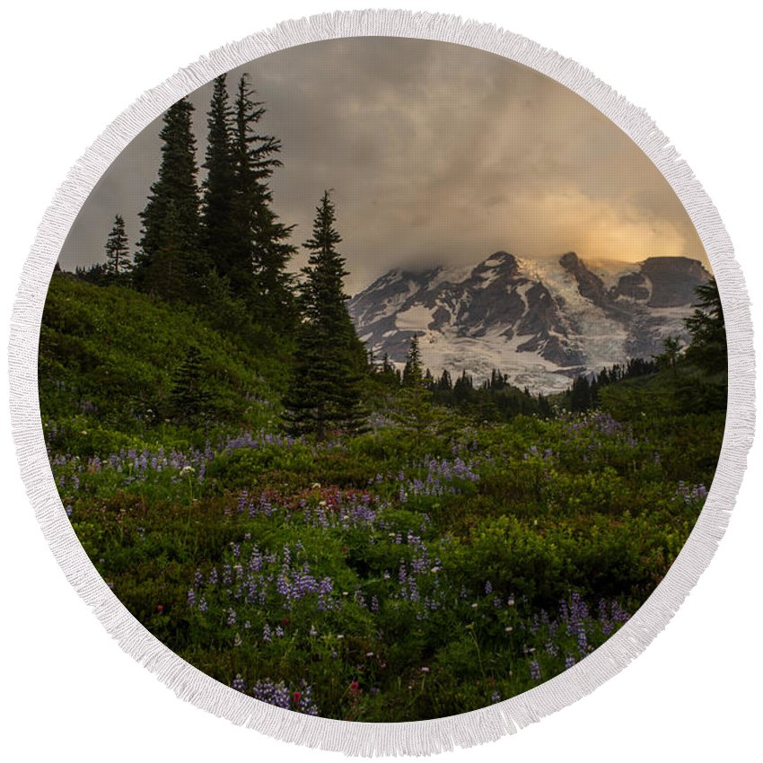 Rainier Round Beach Towel featuring the photograph Soft Spoken Rainier Meadows by Mike Reid
