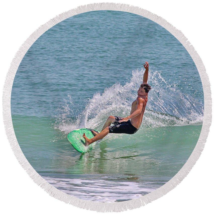 Surf Round Beach Towel featuring the photograph Soft Surf by Deborah Benoit