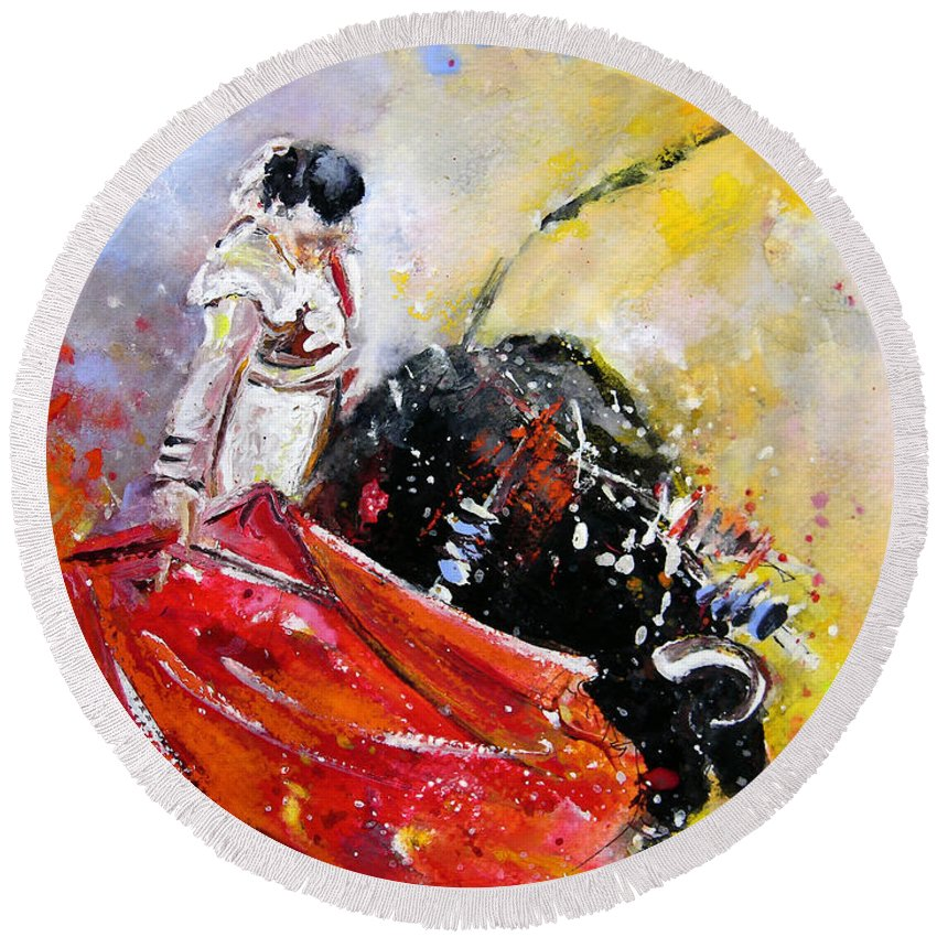 Bullfight Round Beach Towel featuring the painting Softly And Gently by Miki De Goodaboom