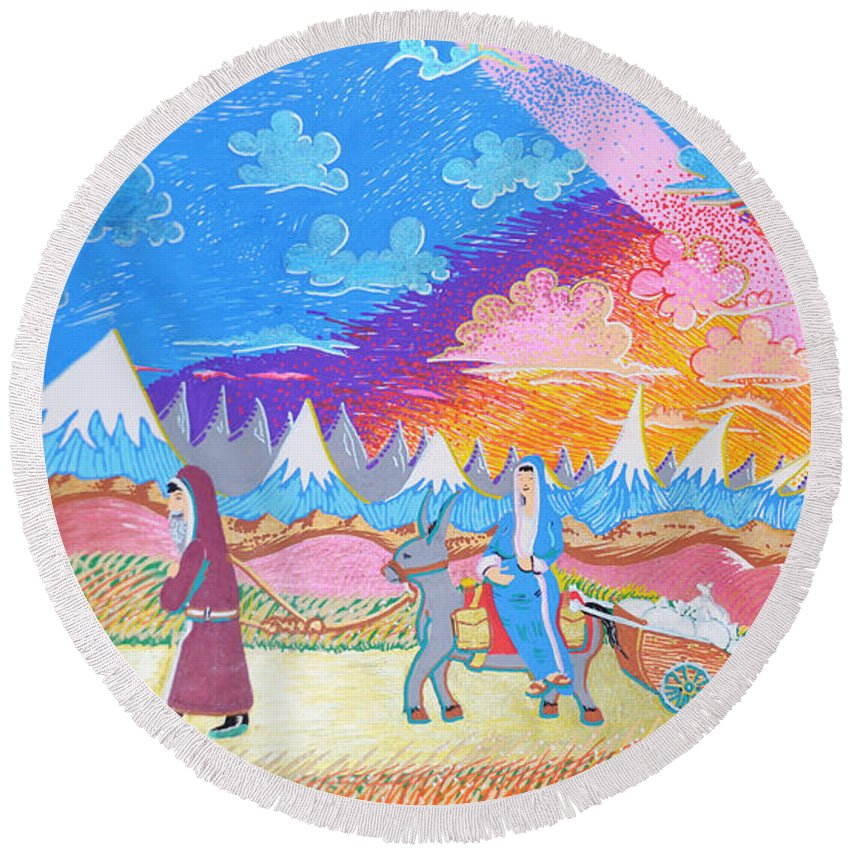 Jesus Round Beach Towel featuring the painting Sojourners Travelling by EBENLO Artist