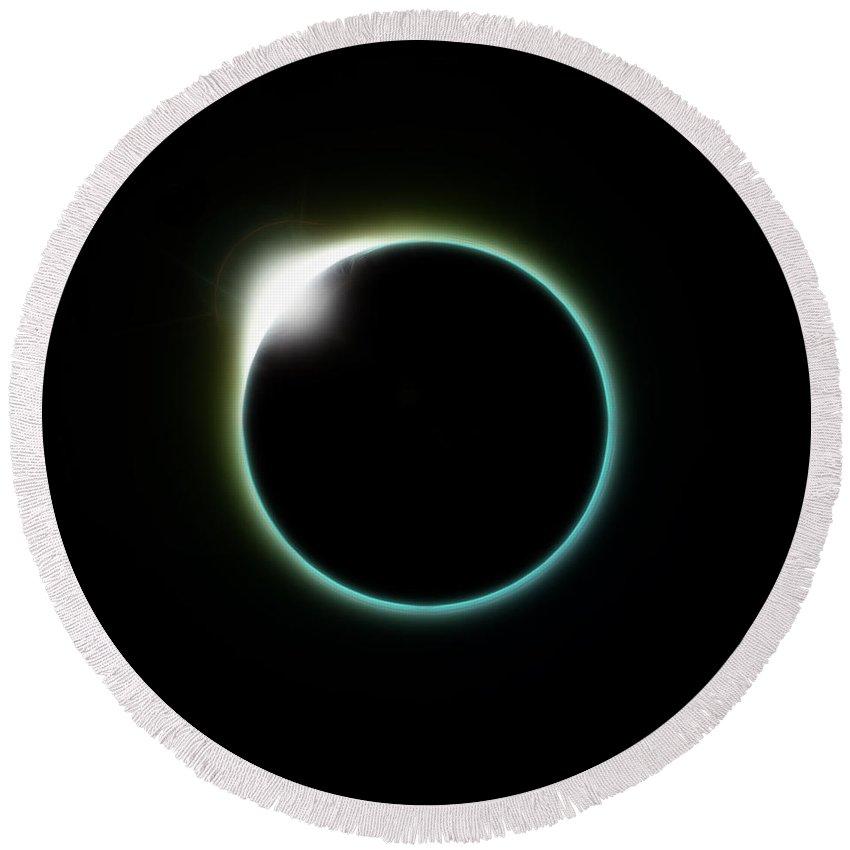 Diamond Round Beach Towel featuring the digital art Solar Eclipse Moon by Antony McAulay