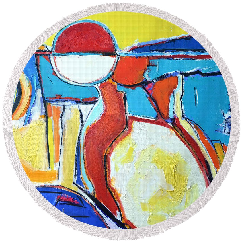 Abstract Round Beach Towel featuring the painting Solar Polyphony by Ana Maria Edulescu