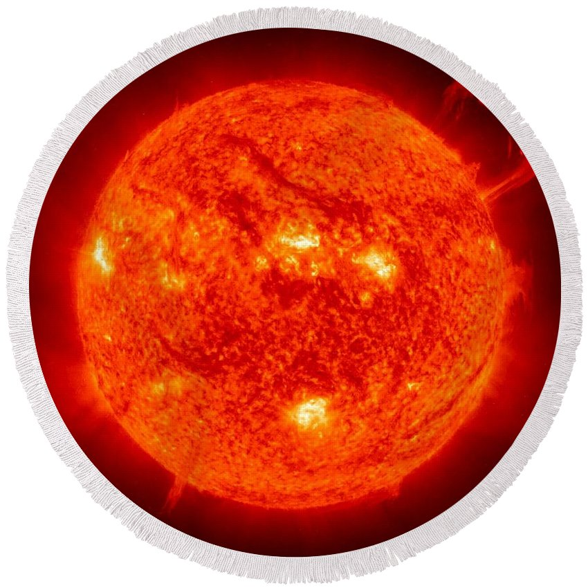 Sun Round Beach Towel featuring the photograph Solar Prominence by Benjamin Yeager