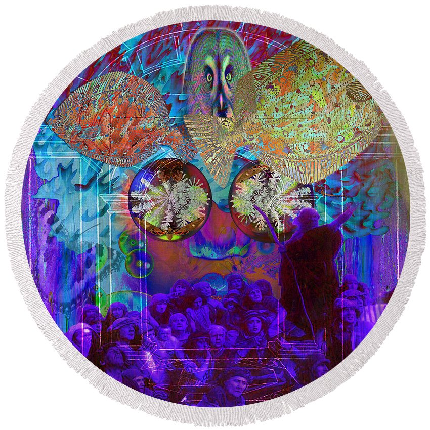 Earth Our House Renewable Clean Energy.... Wind Water Solar Magnetic Geothermal Hydroelectricity Biomass (ecology) Round Beach Towel featuring the digital art Release Of Solar Light by Joseph Mosley
