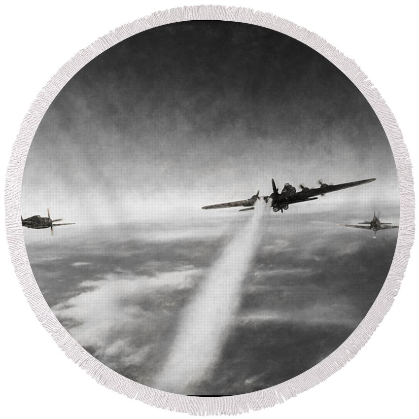 Boeing B-17g Flying Fortress Round Beach Towel featuring the digital art Wounded Warrior - Charcoal by Tommy Anderson
