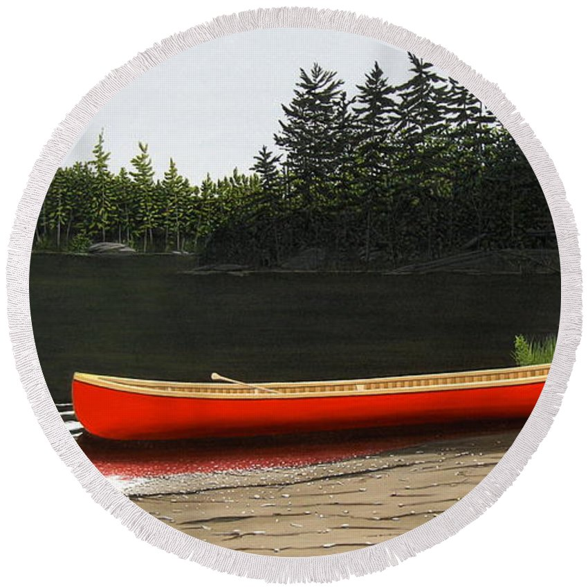 Llandscapes Round Beach Towel featuring the painting Solemnly by Kenneth M Kirsch