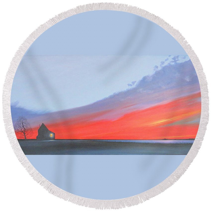 Sunset Round Beach Towel featuring the painting Solitude by Hunter Jay