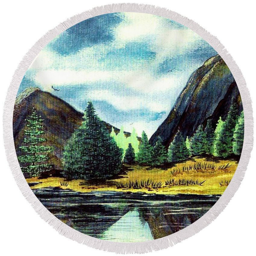 Fine Art Round Beach Towel featuring the painting Solitude by Patricia Griffin Brett