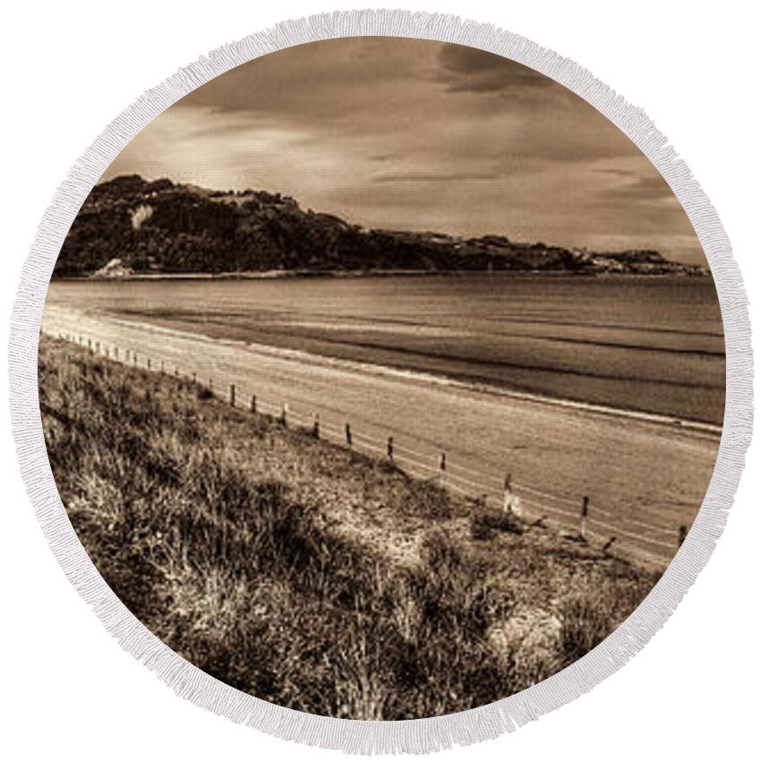 Coast Round Beach Towel featuring the photograph Solitude Sepia by Weston Westmoreland