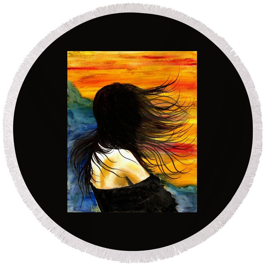 Beautiful Round Beach Towel featuring the photograph Solo Mood by Artist RiA