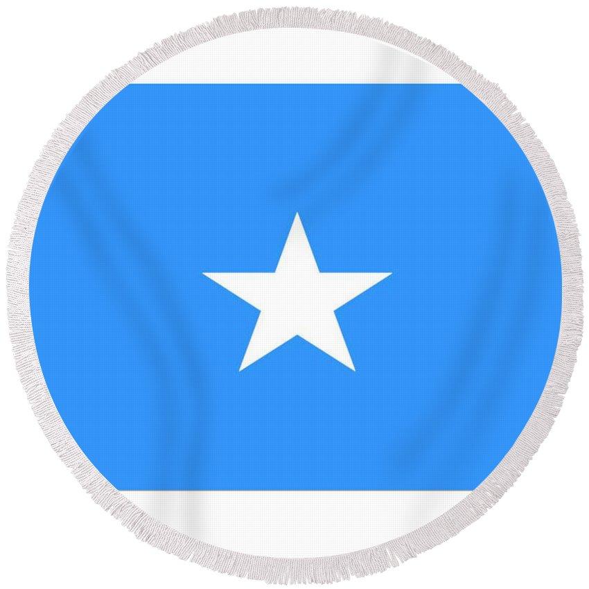 Somalia Round Beach Towel featuring the digital art Somalia Flag by Frederick Holiday