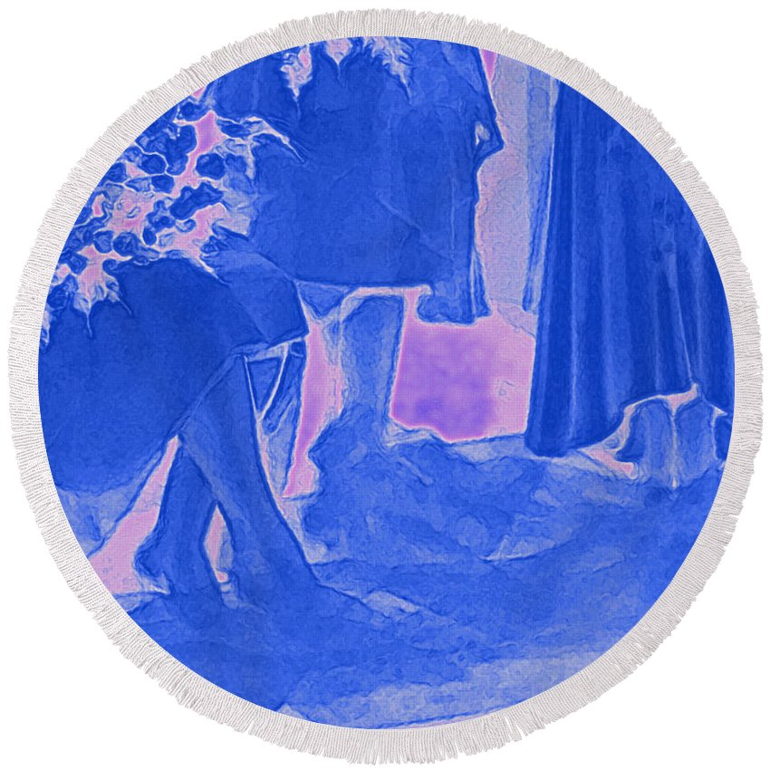 Round Beach Towel featuring the photograph Something Old Something New Something Borrowed Something Blue By Jrr by First Star Art