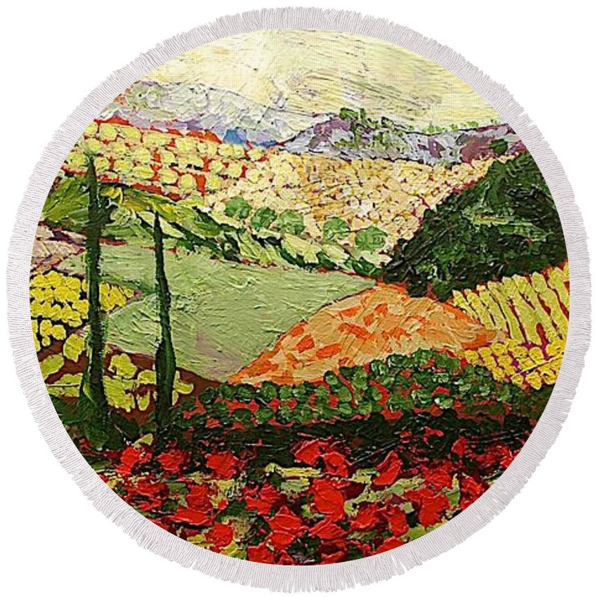 Landscape Round Beach Towel featuring the painting Something Red by Allan P Friedlander