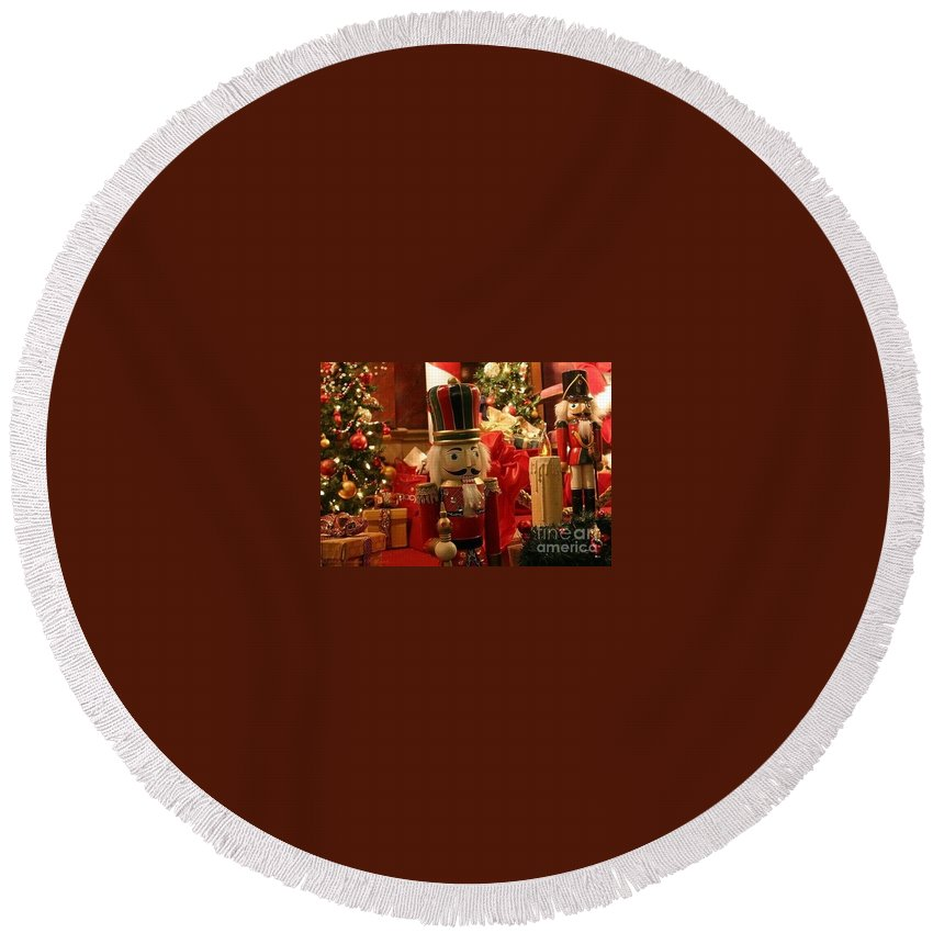 Christmas Round Beach Towel featuring the photograph Sometimes You Feel Like A Nut by Living Color Photography Lorraine Lynch