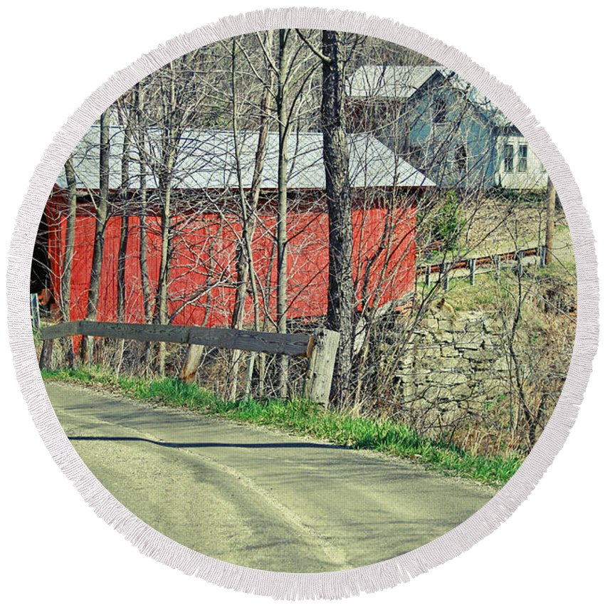 Covered Bridge Round Beach Towel featuring the photograph Somewhere In Vermont by Deborah Benoit