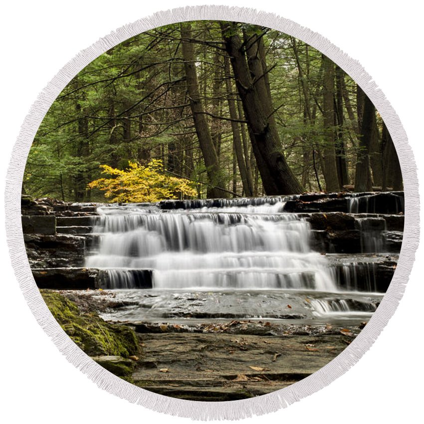 Waterfall Round Beach Towel featuring the photograph Soothing Waters by Christina Rollo