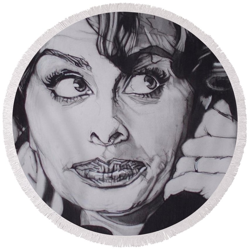 Charcoal;icon;actress;diva;italian;cat Eyes;beautiful;cute;adorable Round Beach Towel featuring the drawing Sophia Loren Telephones by Sean Connolly