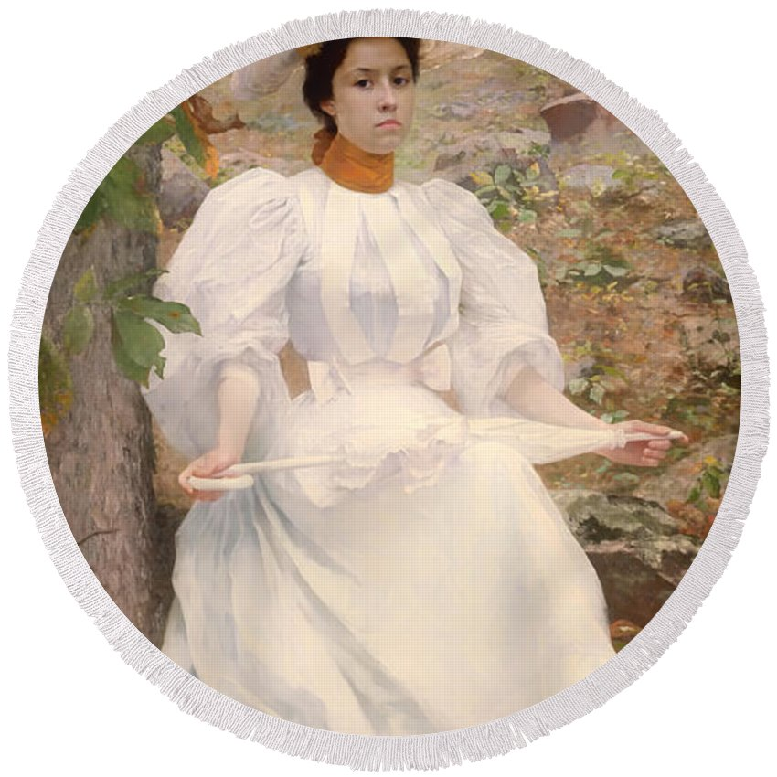 Painting Round Beach Towel featuring the painting Sophie Hunter Colston by Mountain Dreams
