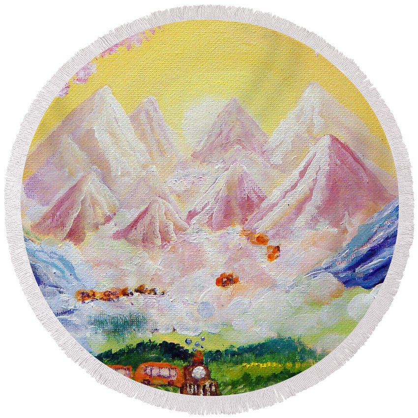 Landscape Round Beach Towel featuring the painting Sorrows All Disappear by Ashleigh Dyan Bayer