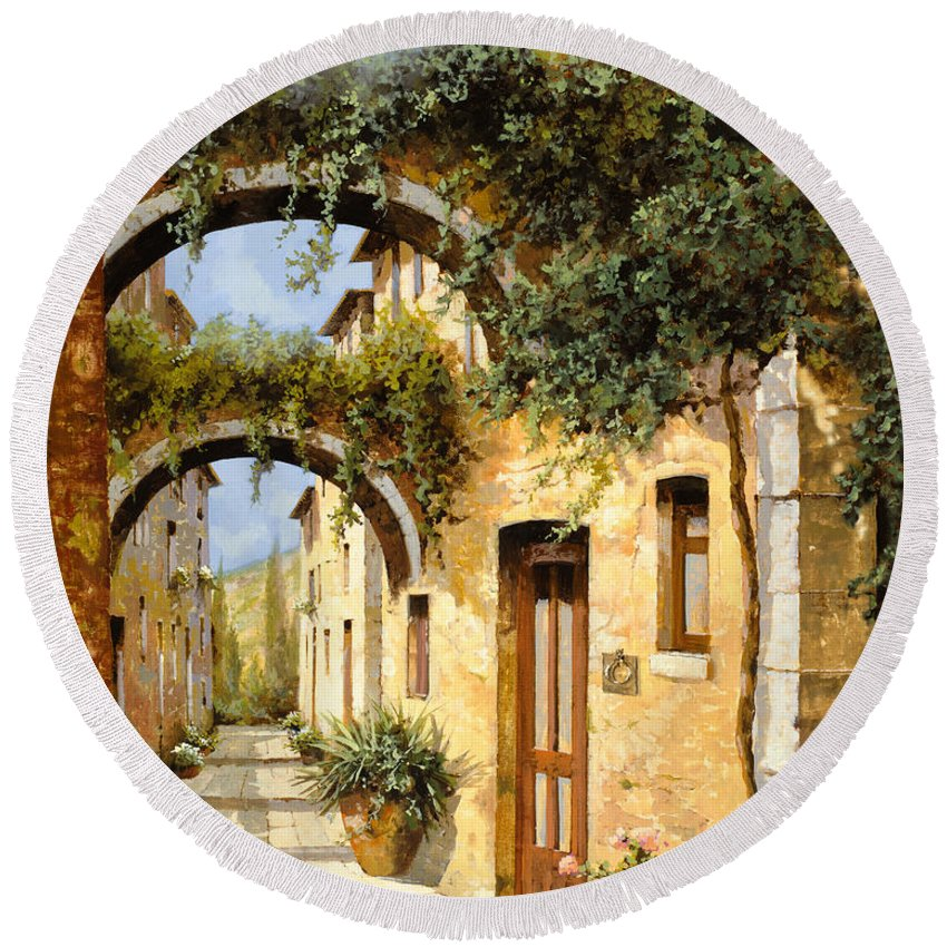Arch Round Beach Towel featuring the painting Sotto Gli Archi by Guido Borelli