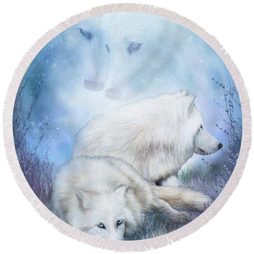 Wolf Round Beach Towel featuring the mixed media Soul Mates - White Wolves by Carol Cavalaris