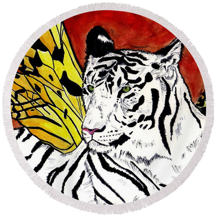 Tiger Round Beach Towel featuring the painting Soul Rhapsody by Crystal Hubbard