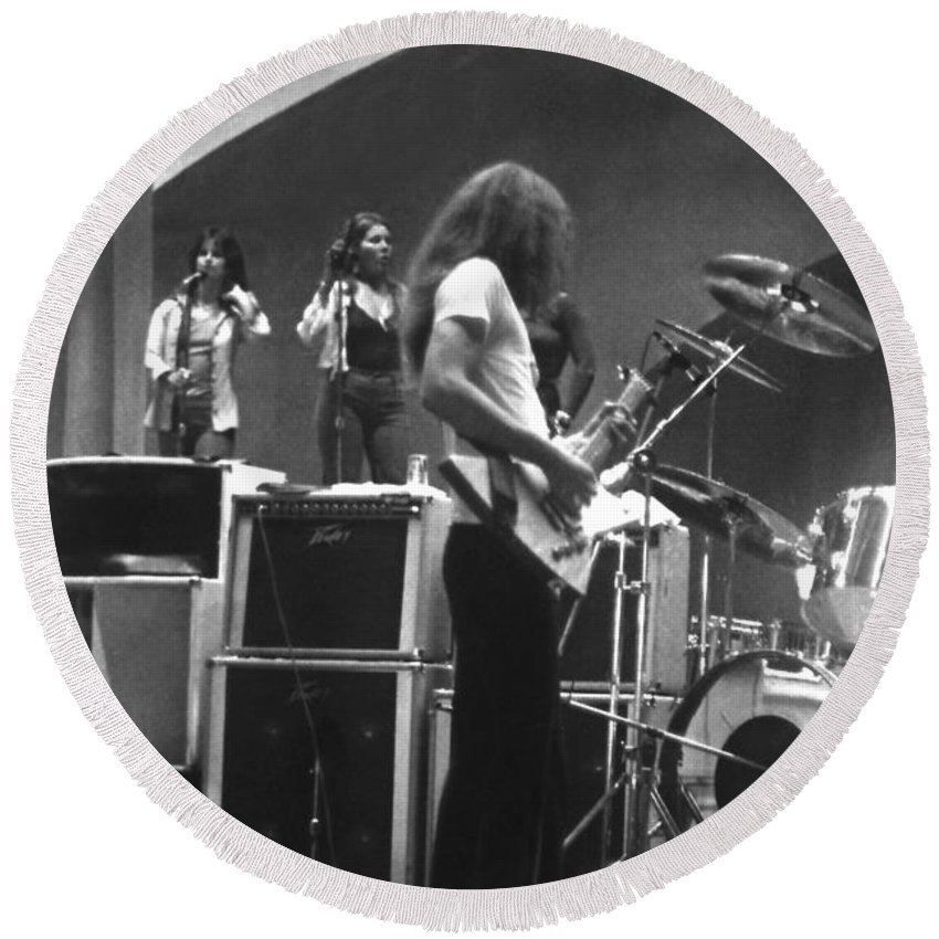 Lynyrd Skynyrd Round Beach Towel featuring the photograph Soundcheck #8 Crop 2 by Ben Upham