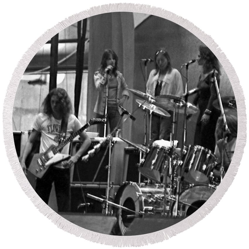 Lynyrd Skynyrd Round Beach Towel featuring the photograph Soundcheck #9 Crop 2 by Ben Upham