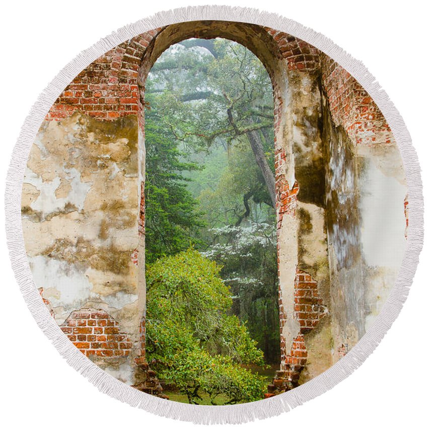 South Carolina Round Beach Towel featuring the photograph South Carolina Historic Church Photo Sheldon Ruins-- Another View From The Inside by Bill Swindaman