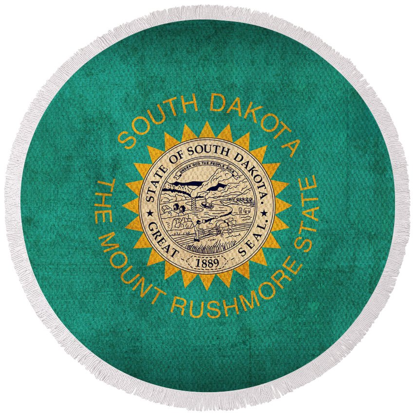 South Round Beach Towel featuring the mixed media South Dakota State Flag Art On Worn Canvas by Design Turnpike