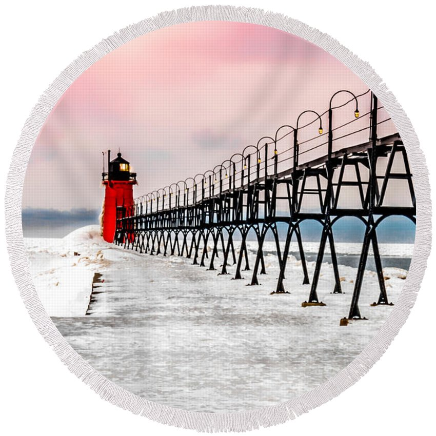 Optical Playground By Mp Ray Round Beach Towel featuring the photograph South Haven Light And Pier by Optical Playground By MP Ray