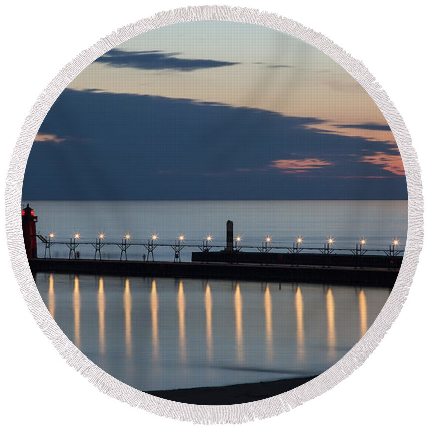 3scape Photos Round Beach Towel featuring the photograph South Haven Michigan Lighthouse by Adam Romanowicz