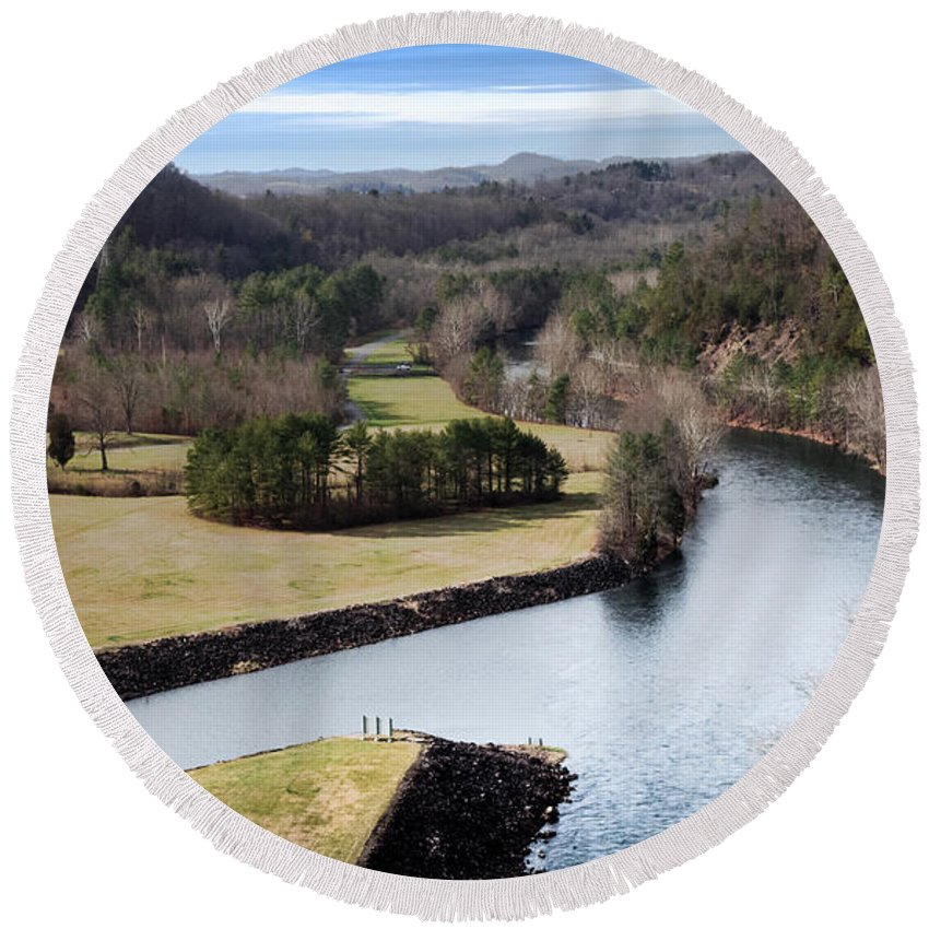 South Holston Dam Round Beach Towel featuring the photograph South Holston Dam View by Karen Wiles