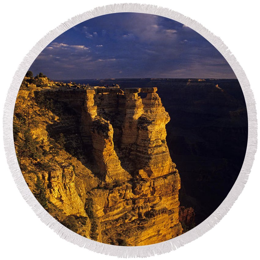 Grand Canyon National Park Round Beach Towel featuring the photograph South Rim Grand Canyon Taken Near Mather Point Sunrise Light On by Jim Corwin