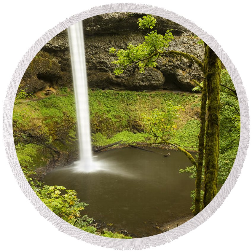 Water Round Beach Towel featuring the photograph South Silver Falls 2 by John Brueske