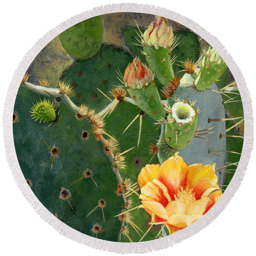 Nature Round Beach Towel featuring the painting South Texas Prickly Pear by Sue Sill