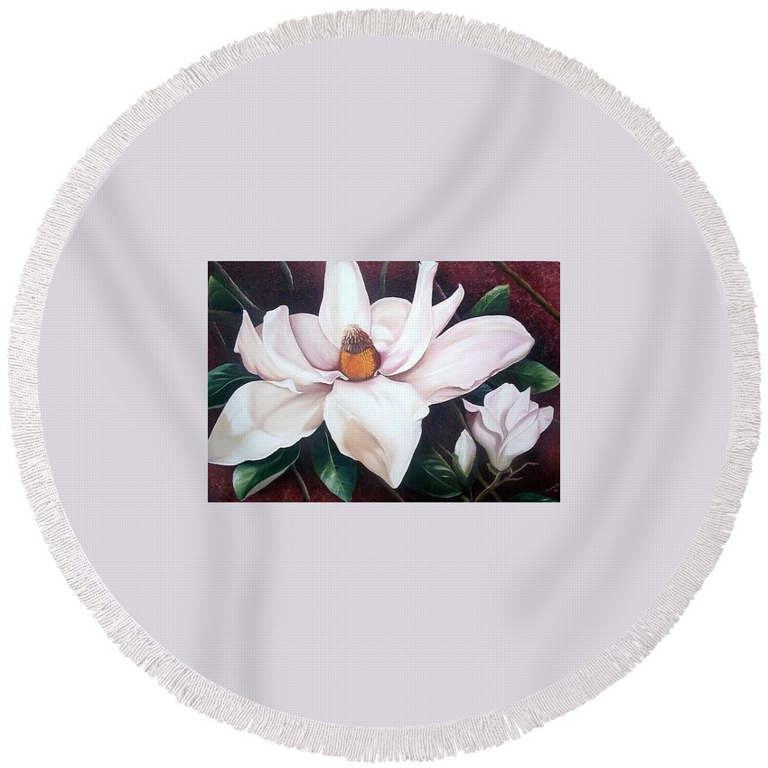Magnolia Southern Bloom Floral Botanical White Round Beach Towel featuring the painting Southern Beauty by Karin Dawn Kelshall- Best
