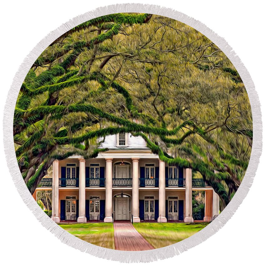 Oak Alley Plantation Round Beach Towel featuring the photograph Southern Class Oil by Steve Harrington