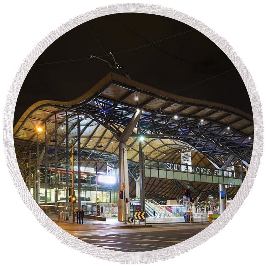 Architecture Round Beach Towel featuring the photograph Southern Cross Rail Station In Melbourne Australia by Jacek Malipan