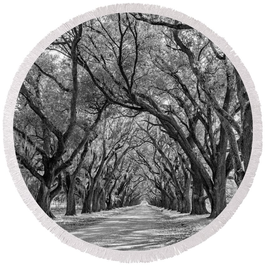 Round Beach Towel featuring the photograph Southern Journey Bw by Steve Harrington