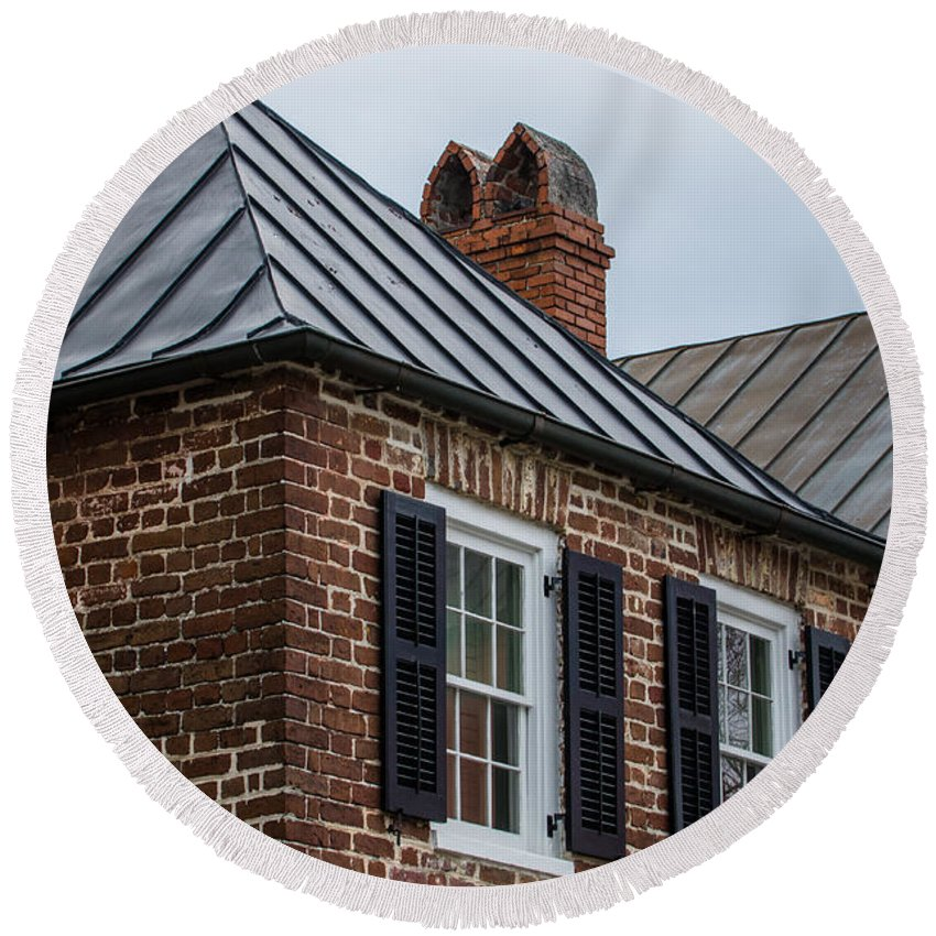 Charleston Round Beach Towel featuring the photograph Southern Rooftops by Dale Powell